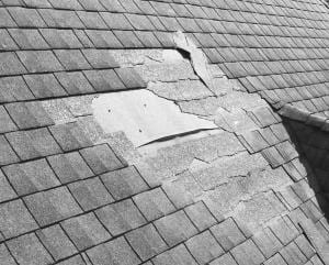 Blown off shingles from roof