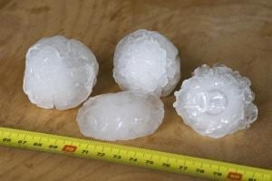 Hailstones measured with tape measure