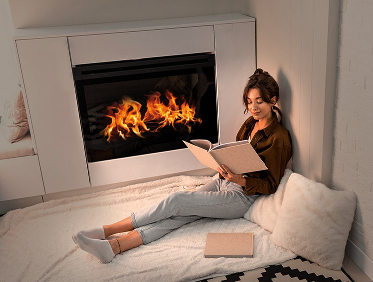 Fireplace Woman Reading book