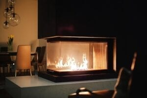 Modern wrap around fireplace