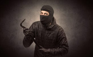 robber with a crowbar