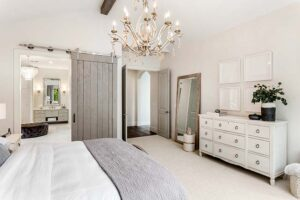Barn Door in a farmhouse remodeled master bedroom