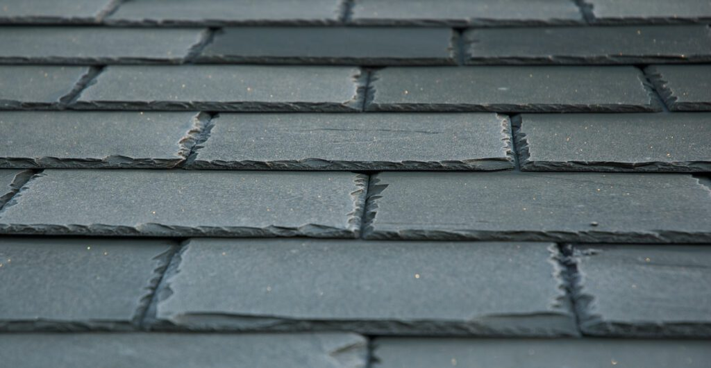 A slate roof in green gray