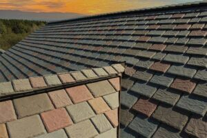 multi-colored synthetic slate roof tiles